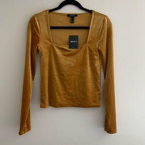 Gold yellow velvet square neck top forever 21 NWT